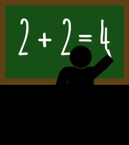 maestro che scrive alla lavagna 2+2=4